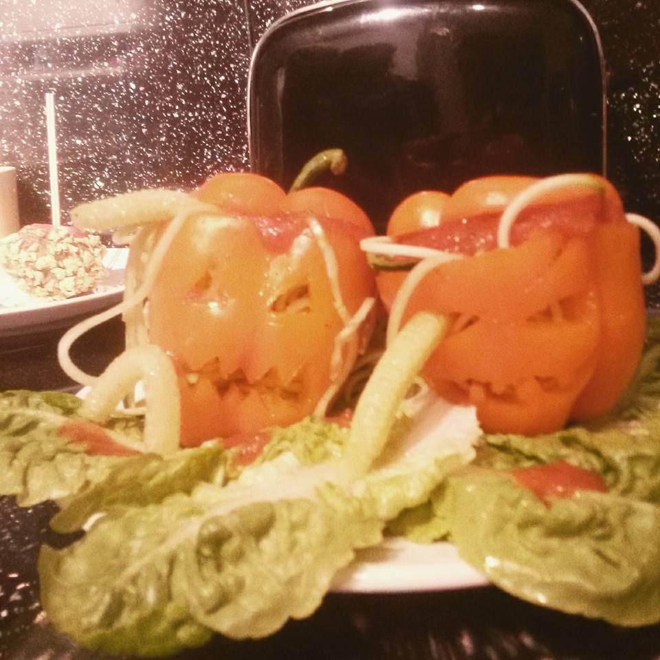 Fun Jack-o-lantern orange peppers me and my daughter made last Halloween